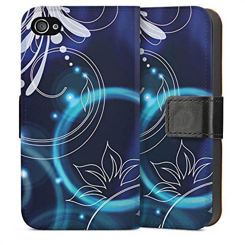 Apple iPhone 4 Housse Étui Silicone Coque Protection Ornements Fleurs Fleurs Sideflip Sac