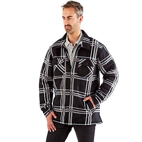 Gilet Hommes ProClimate Lumberjack Neuf Doublé Sherpa Carreaux Chemise Polaire Noir