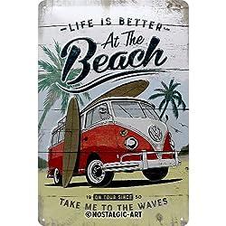 Volkswagen Bulli de Beach | Retro Cartel de Chapa | Vintage de Cartel, decoración de Pared, Metal, 20x 30cm, 20x 30x 0.2cm