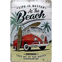 Nostalgic-Art 22277Volkswagen Bulli de Beach   Retro Cartel de Chapa   Vintage de Cartel, decoración de Pared, Metal, 20x 30cm, 20x 30x 0.2cm