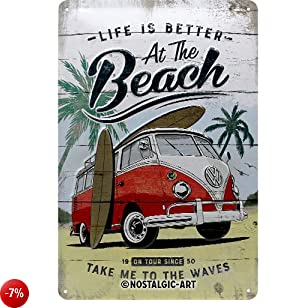 Nostalgic-Art 22277 VW Bulli-Beach | Retro Blechschild | Vintage-Schild | Wand-Dekoration | Metall | 20x30 cm Targhe,, 30 x 0 x 20