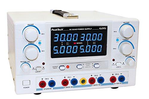 PeakTech 4-Kanal Linear-Geregeltes DC Labornetzgerät - 2x 0- 30V / 0- 5A DC ; 3-6,5 V/3 A, 8-15 V/ 1 A mit Sicherheitstrafo / Transformator, 1 Stück, P 6215 3a Linear Power Supply