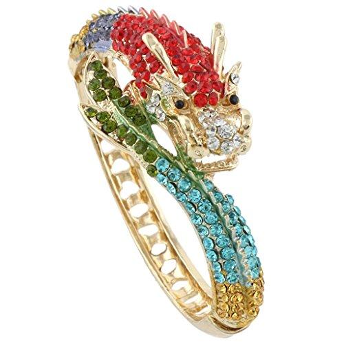 Ever Faith Bold drago bracciale di cristallo multicolore austriaca A07924-19 Gold-Tone