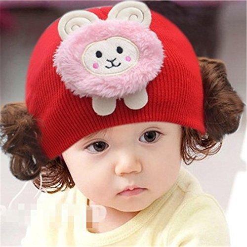 Perücke Baby (Cap Kinder Cap warme Strickmütze Haarband mit Kopfbedeckungen Perücke Hat Prinzessin Mädchen H)