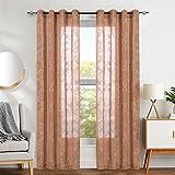 TOPICK Voile Vorhang mit Stangenbezug Halb Transparent Gardine Fensterschal mit Stickerei Vorhänge 245 cm x 140 cm(H x B),2er-Set, Braun