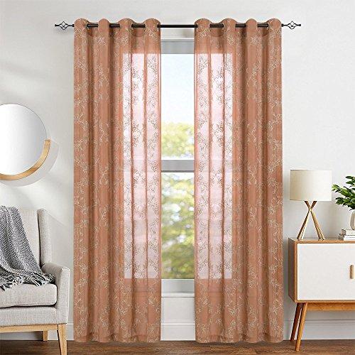 TOPICK Voile Vorhang mit Stangenbezug Halb Transparent Gardine Fensterschal mit Stickerei Vorhänge...