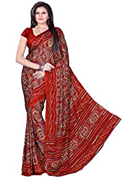 Aaradhya Fashion Women's Crepe Saree With Blouse Piece (Afmoss 0123,Maroon,Free Size)