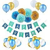 Jwlife Décorations Anniversaire, Anniversaire Bannière Décoration Fête pour Filles Garçons et Adultes 1*Banderole Happy Birthday + 6*Pom Poms+30*Ballons