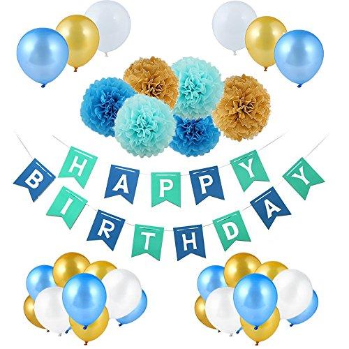 UPGOO Geburtstag Dekoration Set, Deko Geburtstag,Happy Birthday Dekoration, 30 Große Geperlte Ballons,6 Papier Pom Poms,1 Happy Birthday Wimpelgirlande für Mädchen und Jungen (Bla+Golden)