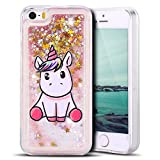 Mosoris Coque iPhone Se Glitter Liquide Cover Mode 3D TPU Etui Licorne iPhone 5S...