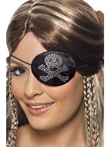 Kapitän See Piraten Zur Kostüm - Luxuspiraten - Kostüm Accessoires Zubehör edle Piraten Augenklappe mit Totenkopf Diamanten Motiv, perfekt für Karneval, Fasching und Fastnacht, Schwarz