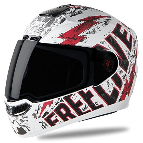 Steelbird SBA-1 Free Live Full Face Helmet (Large 600MM, White with Green)