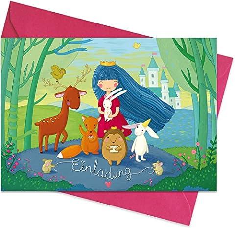 """15er Set (inkl. Umschläge): Einladungskarten """"Prinzessin"""" für den Kindergeburtstag oder anderen Anlass – hochwertige Geburtstagseinladungen für Mädchen, Kinder"""
