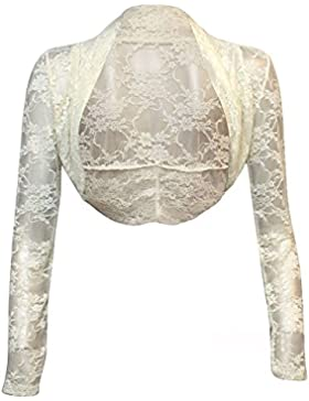 Womens Encaje Recortada Shrug Ladies Bolero Bolero Plus tamaño UK 8–24