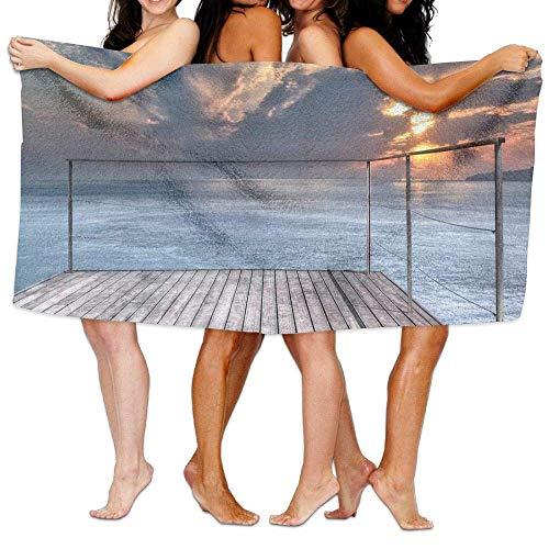 sd4r5y3hg Microfiber Bath Towels Travel Decor Ocean Sea View Terrace Balcony During Sunset WN Image Full Light