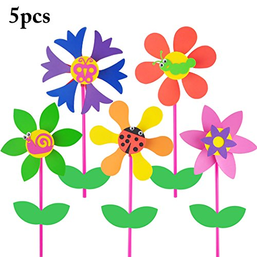 nder Windrad DIY Handwerk Blume Insekt Muster WindmüHle Windrad Dekor Wind Spinner ()