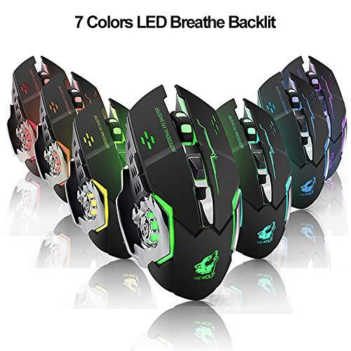 JAK0 2.4G Wireless Gaming Mouse Wiederaufladbare Optische Maus Mit 7 Farbe Atmung Licht 3 Einstellbare DPI Level Für Windows 7/8/10 / XP Vista/Mac -