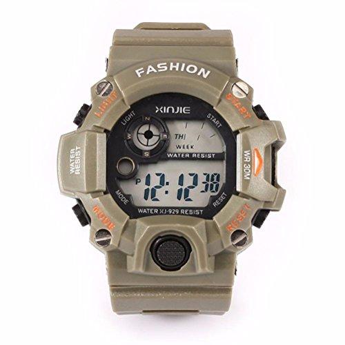 Fulltime® Montres Quartz Sport numériques LED Silicone militaire pour hommes de bracelet étanche
