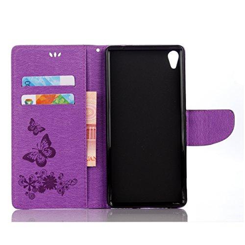 ISAKEN Custodia per Sony Xperia XA Ultra con Strap, Elegante borsa Tinta Unita Farfalla Design in Sintetica Ecopelle PU Pelle Protettiva Portafoglio Flip Case Cover con Supporto di Stand / Carte Slot  Farfalla: violet