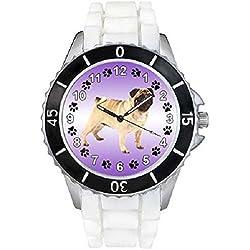 Pug Unisex Reloj para hombre y mujer con correa de silicona blanco