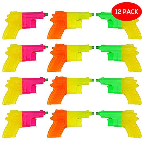 Bramble 12er Set kleine Mini Wasserpistole - Wasser-Spielzeug, Water-Pistol, Water-Gun & farbige Wasser-Spritzpistolen aus Plastik für Strand, Party & Kinder-Geburtstag