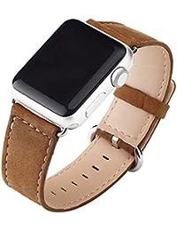 Cuitan Durable Cuero Watch Band para 42mm Apple Watch iWatch, con Adaptador Banda Muñeca Correa de Reloj Reemplazo Reloj Muñeca Band Watchband Strap Watchband para Apple Watch (No incluido Watch)