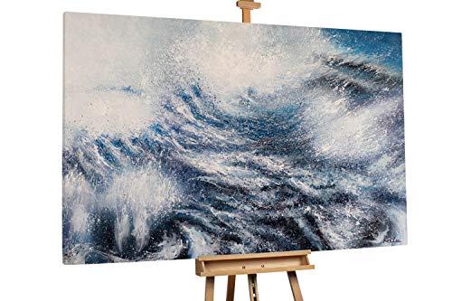 'Stormy Sea' 180x120cm | Abstrakt Meer Grau Weiß | Modernes Kunst Ölbild