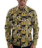70er Jahre Muster Party Hemd Grün XL