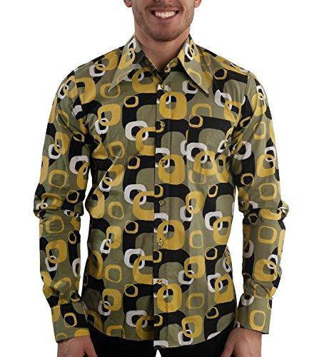 70er Jahre Muster Party Hemd Grün, Grn, XXL
