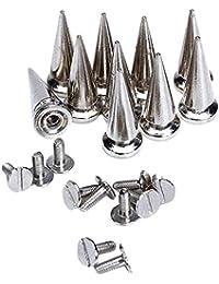 SuntekStore Online - 10 conjuntos cono screwback spikes clavos 25mm plata / hierro con revestimiento de níquel , puede traerle mucho placer de diy