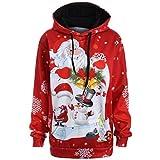 Sweatshirt à Capuche Femme CIELLTE Hoodies Manches Longues Pull Automne Hiver Père Noël Snowman 3D Impression Blouse à Capuche Outwear Mode