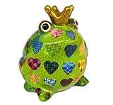 Spardose Frosch mit Herzen in gelb, grün, weiß oder pink von Pomme Pidou (grün)