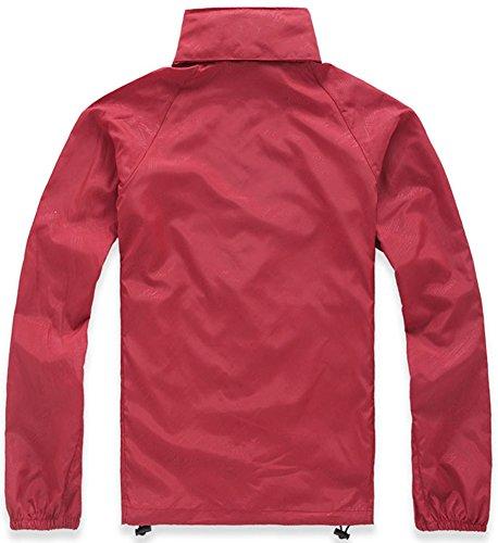 Mochoose Damen Super Leichte Regenbekleidung Outdoor Hoodie Jacke Schnell Trocken Windbreaker Wasserdicht UV Schützen Sie den Mantel Rot