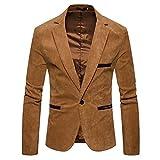 Zhiyuanan Herren Cord Anzug Slim Fit One Knopf Smart Mantel Einfarbig Lässig Business Blazer Sakko Jacke