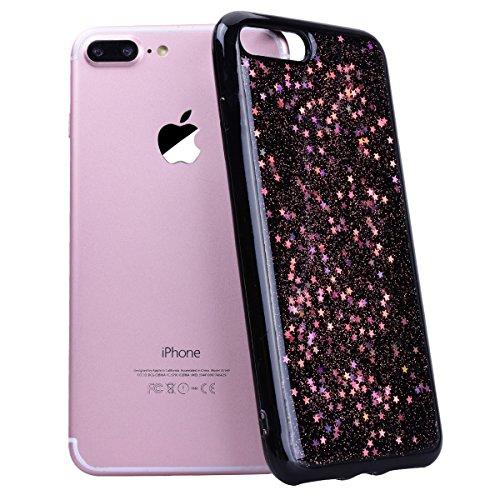 Custodia iPhone 7 Plus, Cover iPhone 8 Plus Rosa CE-Link Brillantini Glitters Stelle di Bling Silicone Custodia 8 Plus Morbido Chiaro Cristallo Ultra Sottile Elastica e Morbida Morbido Placcatura TPU  Rosa