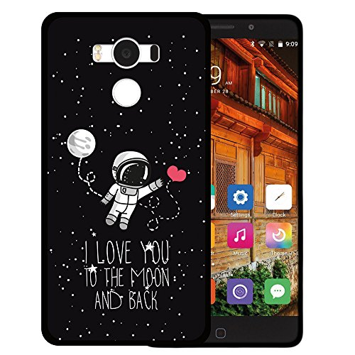 WoowCase Elephone P9000 Hülle, Handyhülle Silikon für [ Elephone P9000 ] Astronaut Herz - I Love to The Moon and Back Handytasche Handy Cover Case Schutzhülle Flexible TPU - Schwarz
