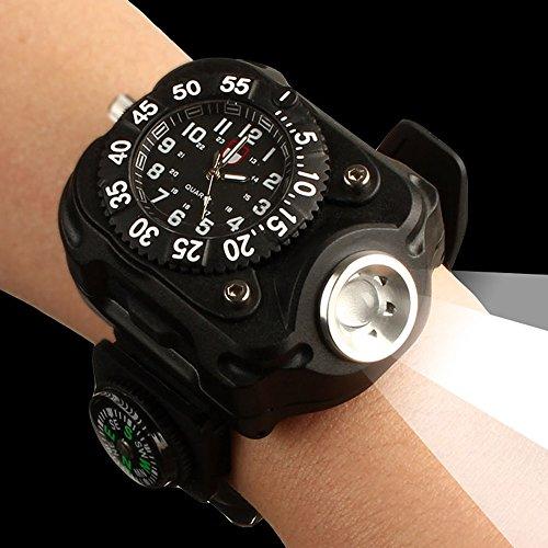MUMENG Aufladen der Handgelenk Uhren Uhr Kompass Multifunktionale Outdoor-Sportarten Nacht Fahrt Starke 3W 200LM LED Taschenlampe Lampe[Energieklasse A+]