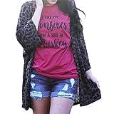 OHQ Damen Strickjacke Lässig Casual Oversize Print Leopar Pullover Outwear Mit Taschen Mantel Jacke Winter (XL)