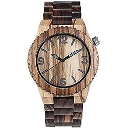 YOUGO Unisex Quartz Watch Colorful Bamboo Holset Japan Movement Life Waterproof Wrist Watch-BW01