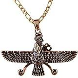 Groß Doppelseitig Gold PT fatvahar faravahar Halskette Kette iranischen Persischen Geschenk, gold, Large