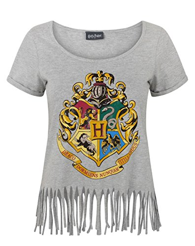 Harry Potter Hogwarts Crest Women's Fringe Top (L) (Crest Vanille)