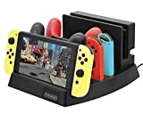 Soporte y estación de carga Playstand para Nintendo Switch - ElecGear USB Type C Cargador Stand Charger Charging Dock Station para Switch Dock, Switch, 2x Pro Controller y 2x Joy-Con