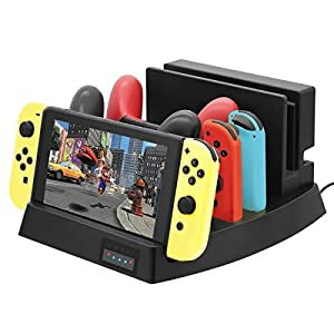 ElecGear Nintendo Switch Ladestation Playstand ständer Charging Dock Standfuß Ladegerät Charger Docking Station für Switch Dock, Games Konsole, Pro Controller und Joy-Con