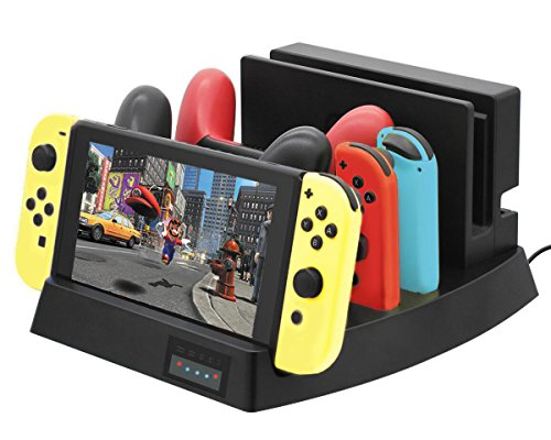 ElecGear Ladestation Ständer kompatibel mit Nintendo Switch, Playstand Charging Dock Standfuß Ladegerät Charger Docking Station Stand für Switch Dock Set, Pro Controller, Joy-Con mit USB C ladekabel -