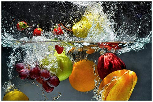 Wallario Acrylglasbild Früchte im und unter Wasser - Splashing Fruits - 60 x 90 cm in Premium-Qualität: Brillante Farben, freischwebende Optik