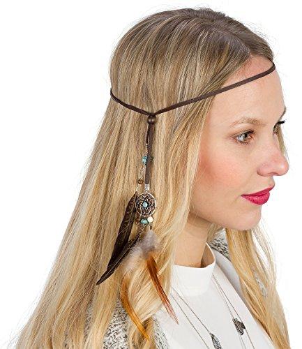 SIX Festival braunes Haarband Kopfband mit Traumfänger und Federn, Indianer Kostüm, Karneval, Fasching (456-108)