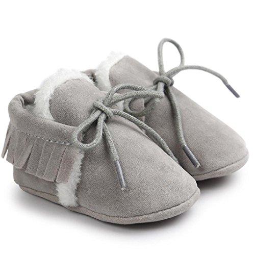 FEITONG Baby Mädchen Jungen weiche Sohle Schnee Aufladungen weiche Krippe bequeme Kleinkind Schuhe (12 ~ 18 Monat, Rosa) Grau