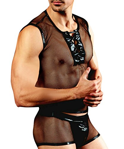 Spicyman Mens Sexy Black Fishnet Costume Outfit Lingerie Mesh Tank Boxer Brief Underwear Set  2 Piece