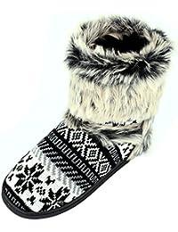 Sibba Zapatos de Estar por Casa para Mujer Botas con Pelo Interior Templadas y Cómodas
