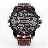 Hermosos Relojes Gran Dial Men 's Watch Oulm Cuatro World Time Reloj de Moda